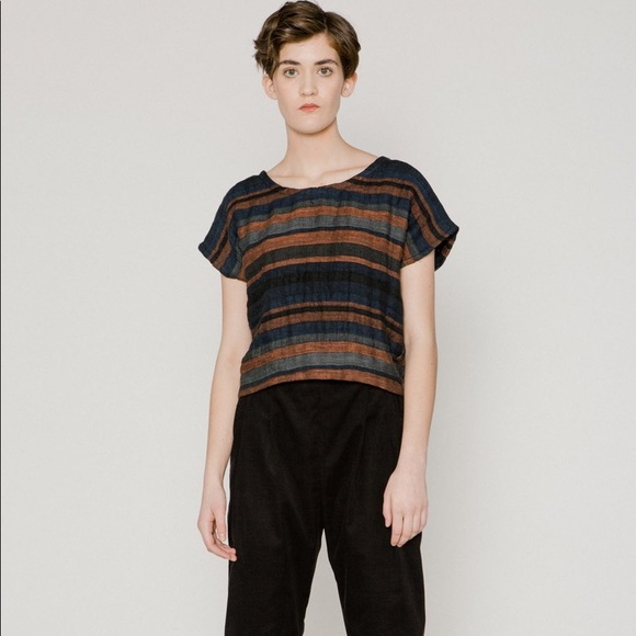 Linen blend striped top size 12